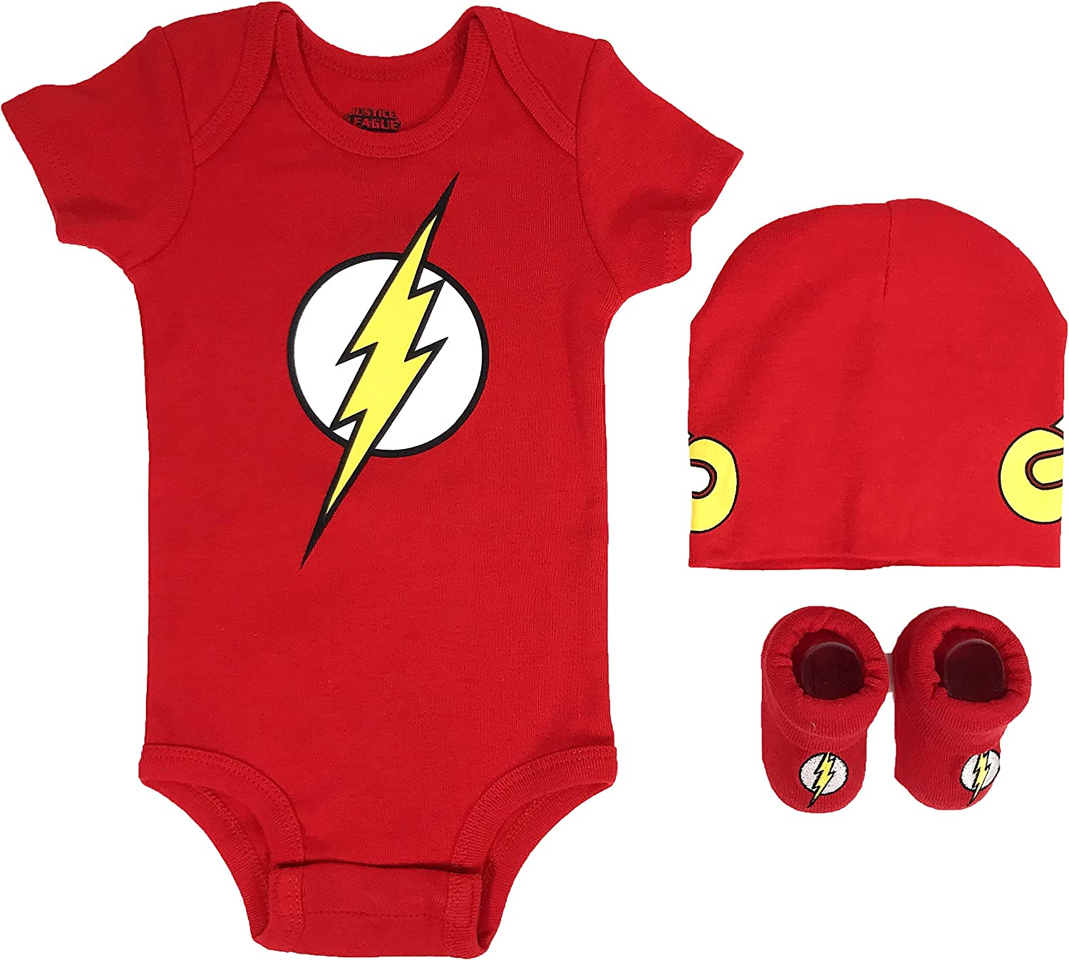DC Comics Baby Boy's Superman, Wonder Woman, Flash, Batman 3-pc Set in Gift Box Baby Costume
