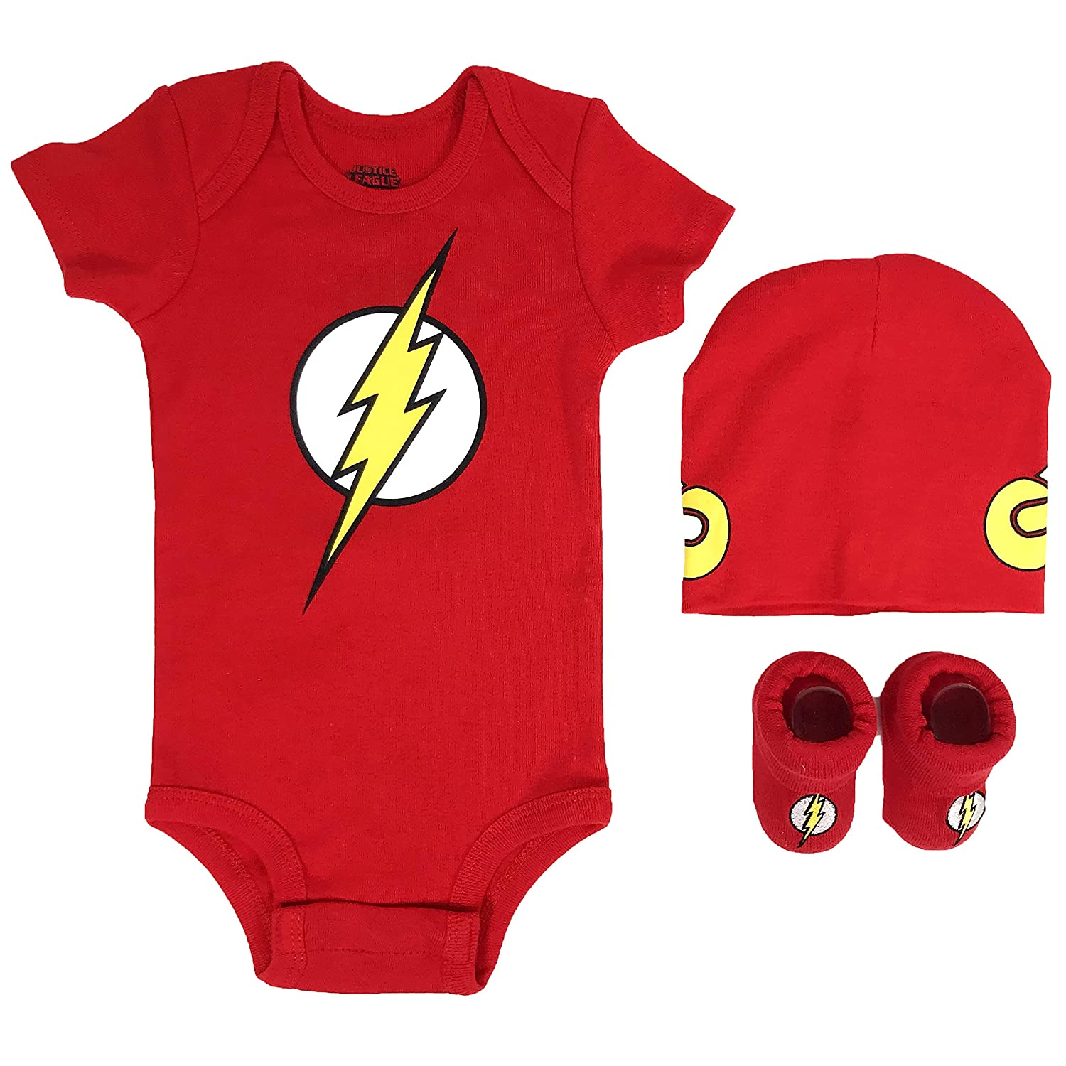 DC Comics Baby Boy's Superman, Wonder Woman, Flash, Batman 3-pc Set in Gift Box Baby Costume DC Comics Baby Boys Superman Black 0-6 IBSP1831