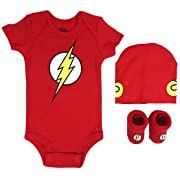 DC Comics Baby Boys Superman, Wonder Woman, Flash, Batman 3-pc Set in Gift Box, red, 0-6