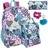 Girl's 6 in 1 Backpack With Lunch Bag, Pencil Case, Keychain, and Accessories