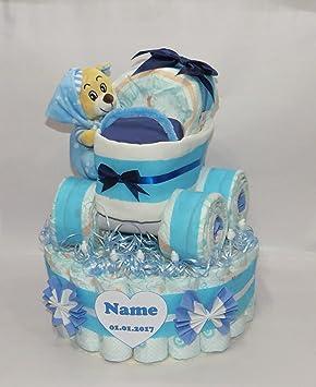 Pañales para tartas - Pañales Pañales para tartas con cochecito XL de neumáticos + Oso - En 4 Colores diferentes rosa: Amazon.es: Bebé