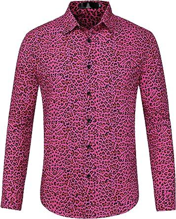 Lars Amadeus Camisa Casual Algodón Manga Larga con Botones Estampado De Leopardo Vintage para Hombres
