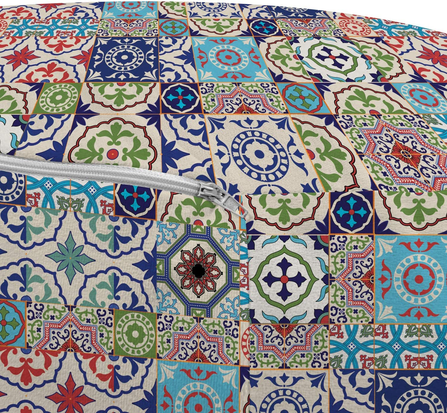 Multicolor Ambesonne Moroccan Ottoman Pouf Geometric Squares and Rectangles Colorful and Complex Design Floral Arrangement Decorative Soft Foot Rest with Removable Cover Living Room and Bedroom