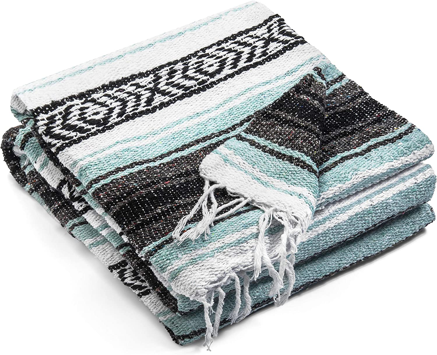 Authentic Mexican Blanket - Premium Yoga Blanket Beach Blanket - Perfect Picnic Blanket, Travel Blanket, Outdoor Blanket - Well Made Yoga Bolster: Clothing
