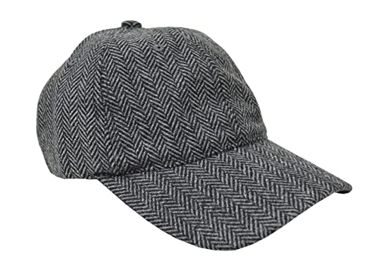 757565af Brooks Brothers Men's Wool Blend Herringbone Striped Baseball Cap Hat  Grey/Black (Small/