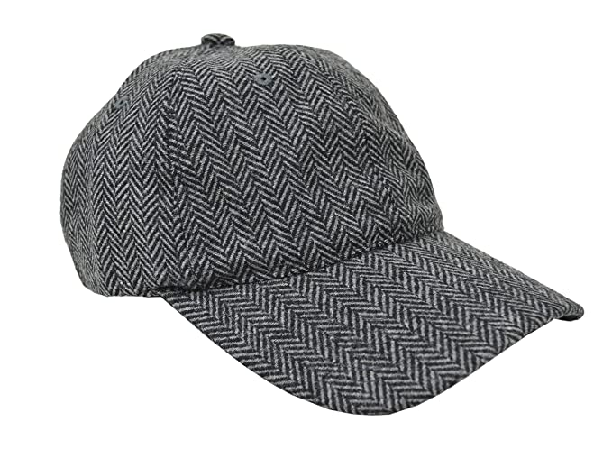 1dedf0164cd Brooks Brothers Men s Wool Blend Herringbone Striped Baseball Cap Hat  Grey Black (Small