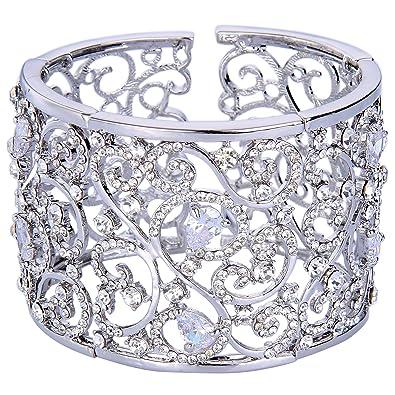 TENYE Austrian Crystal Round Zircon Floral Leaf Drop Tennis Bracelet Silver-Tone 1QtPGBHbCc