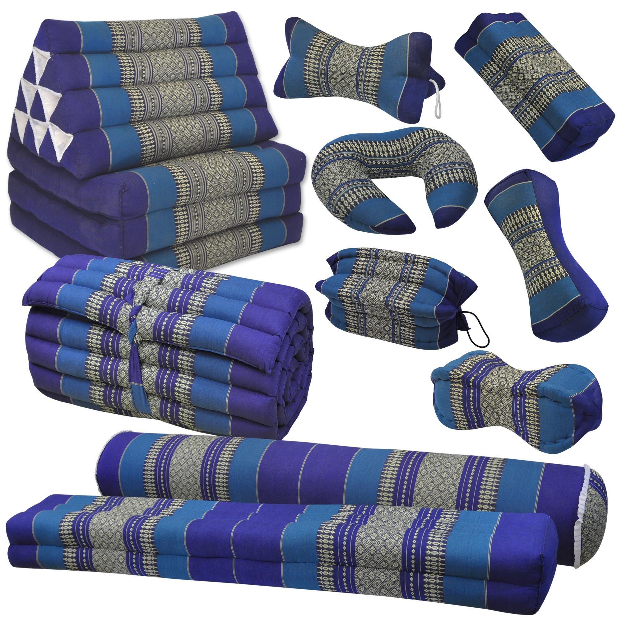Thai triangular cushion, blue, relaxation, beach, kapok, made in Thailand. (82200) by Wilai GmbH