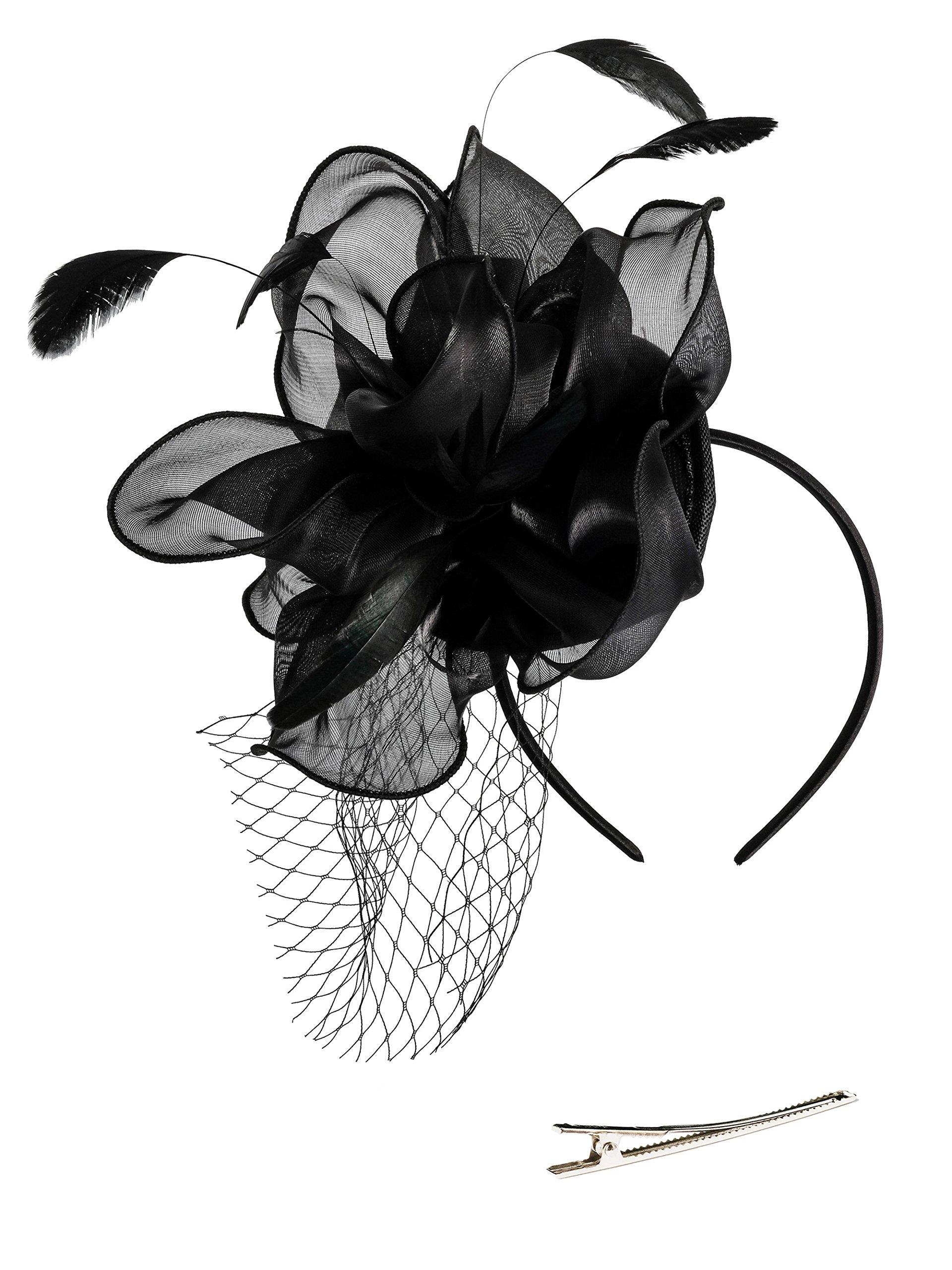 Zivyes Fascinators Hat Wedding Hat Flower Mesh Feathers Tea Party Headband Hair Clip Girls Women