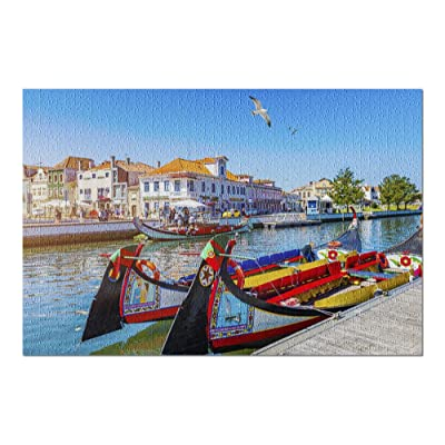Aveiro, Portugal - Traditional Moliceiro Boats Traditional on Canal 9005430 (Premium 1000 Piece Jigsaw Puzzle for Adults, 20x30, Made in USA!): Toys & Games