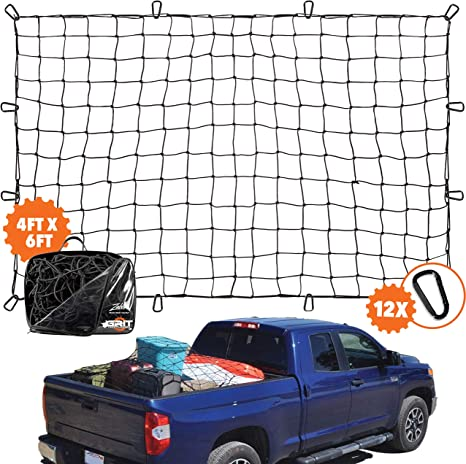 AxPower Bungee Cargo Net 4 x 6 Stretchable to 8 x 12 for Pickup Truck Bed Trailer Luggage Net Heavy Duty Tie-Down Mesh with 12 Pcs Hooks and Metal Carabiner Clips