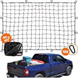 4'x6' Super Duty Truck Cargo Net for Pickup Truck Bed Stretches to 8'x12' | 12 Tangle-Free [Steel] Carabiners | Small 4…