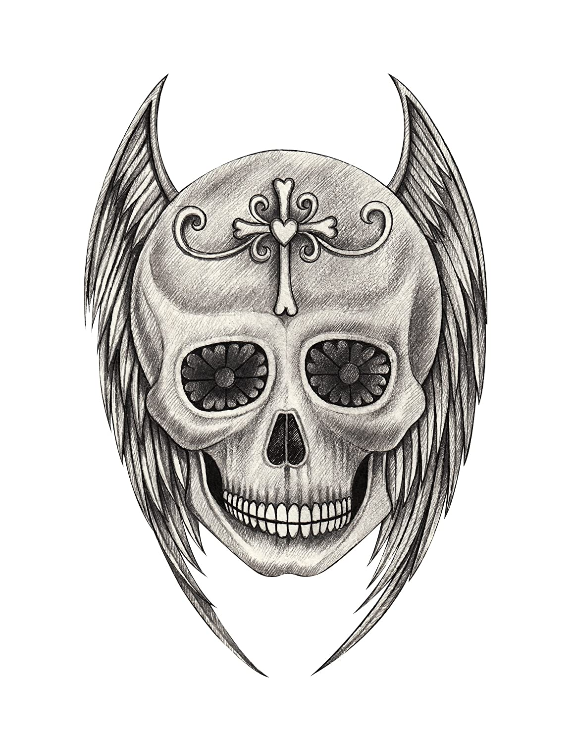 Amazon com pencil sketch skull with cross and feather wings 1 vinyl decal sticker 4 tall automotive