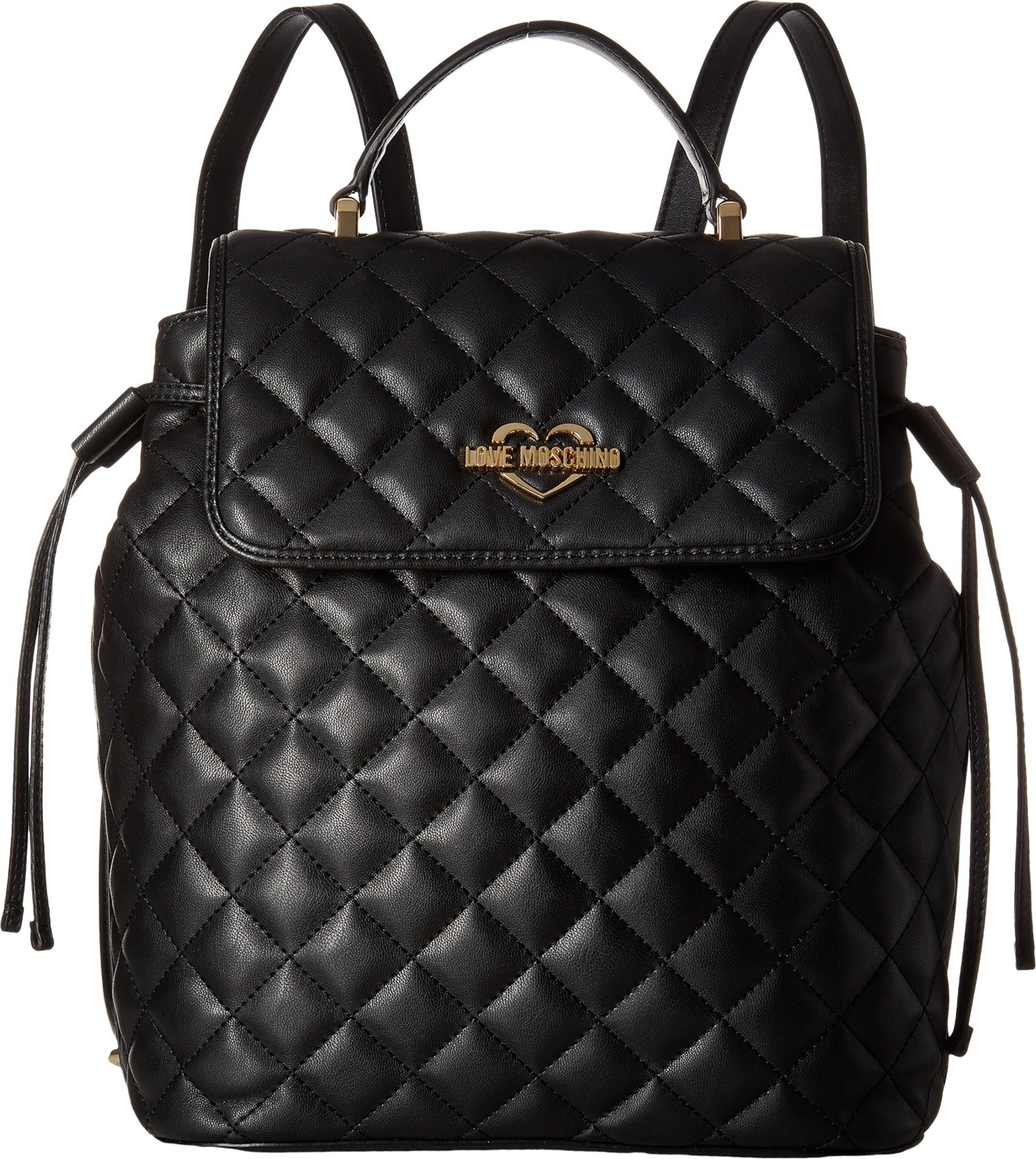 LOVE Moschino Women's Quilted Flap Backpack Black Backpack