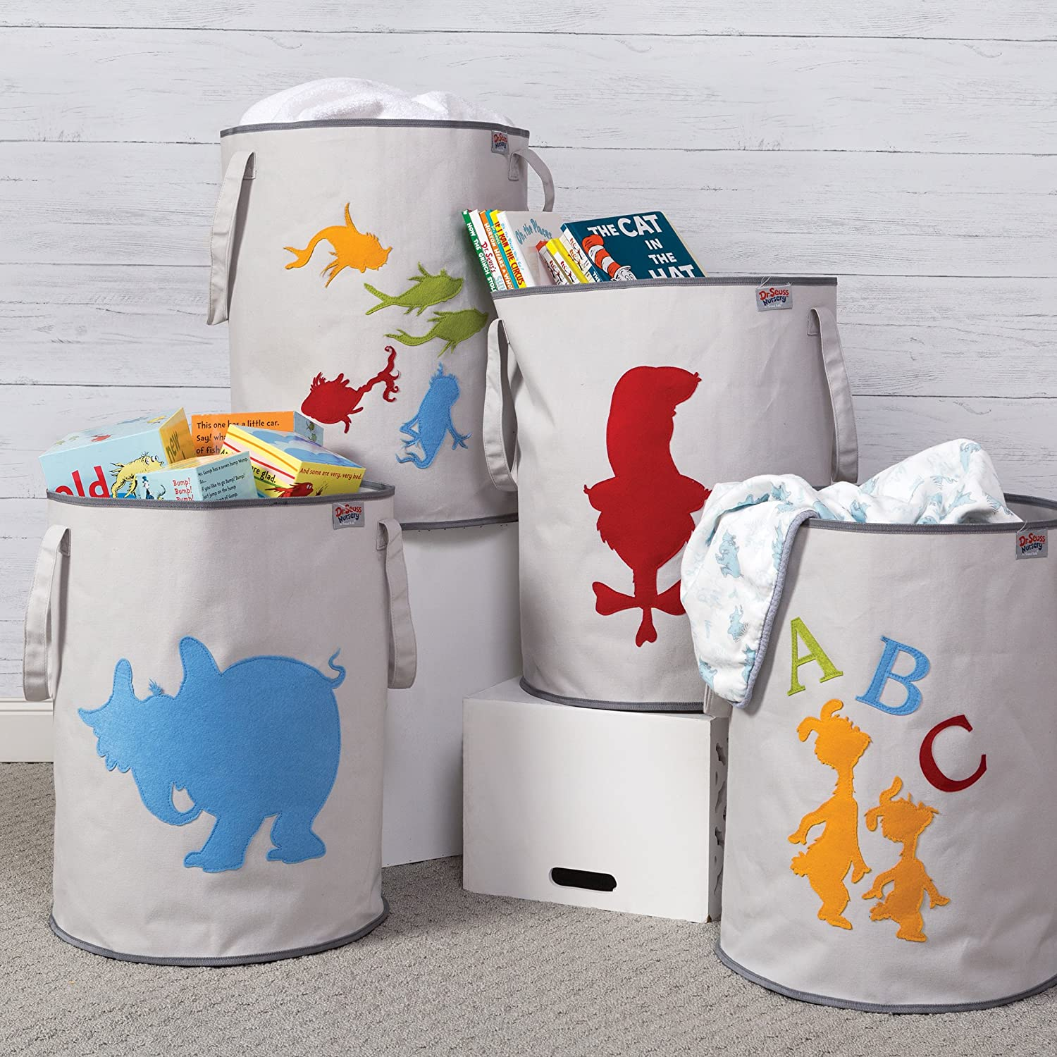 Trend Lab Dr Seuss Cat in The Hat Storage Tote Gray//Red
