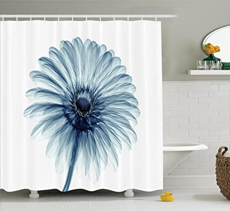 Xray Flower Decor Shower Curtain Set By Ambesonne, Photo Of A Daisy Flower  With X