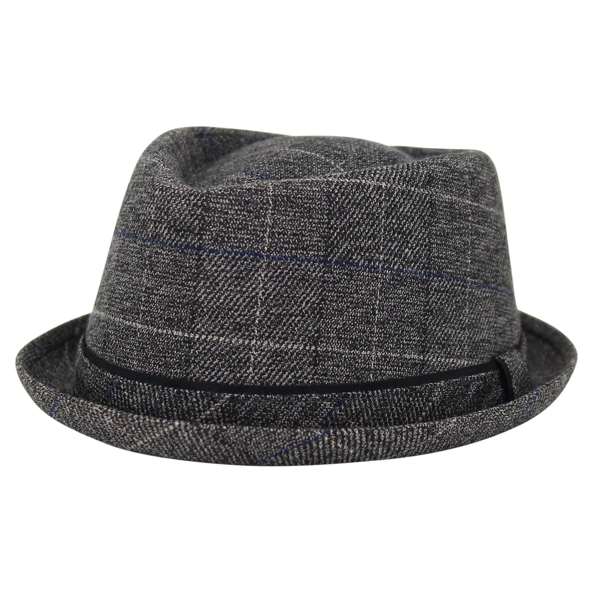 London Fog Heritage Men's Short Brim Fedora Hat (Charcoal, Small/Medium)