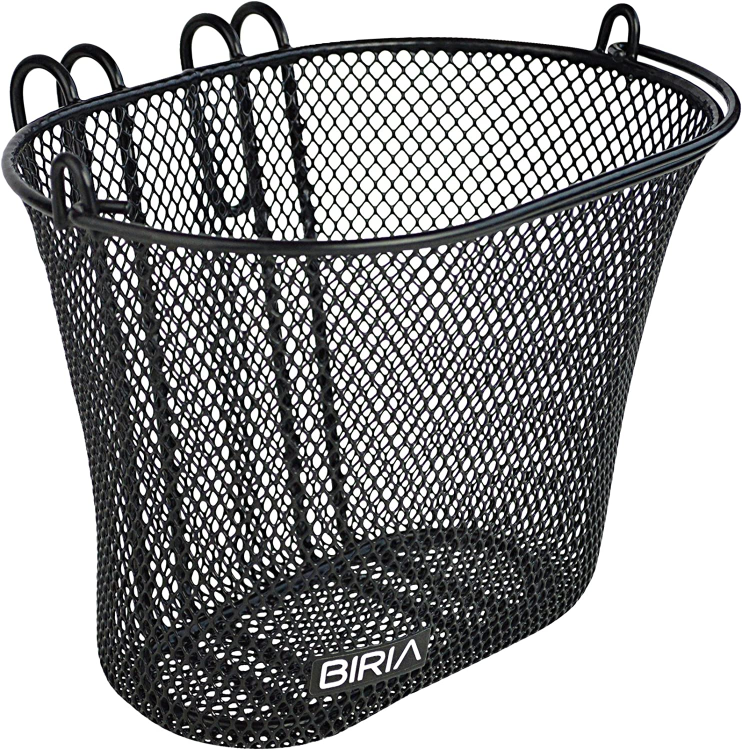 BIRIA Basket with Hooks Black, Front, Removable, Wire mesh Small, Kids Bicycle Basket, Black