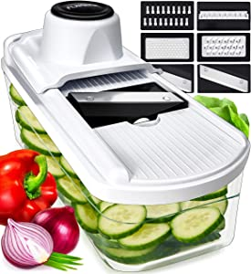 Mandoline Slicer Vegetable Slicer Mandoline - Potato Slicer Food Slicer Veggie Slicer Cutter Slicers for Fruits and Vegetables - Fruit Slicer Onion Slicer Julienne Slicer with Glass Container