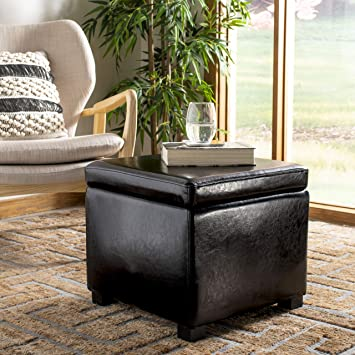 Superb Safavieh Hudson Collection Ryder Leather Square Flip Top Ottoman Black Ncnpc Chair Design For Home Ncnpcorg