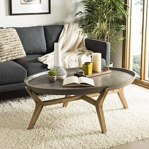 Safavieh VNN1021A Collection Hadwin Dark Grey Indoor Outdoor Modern Concrete Oval 31.5 Coffee Table