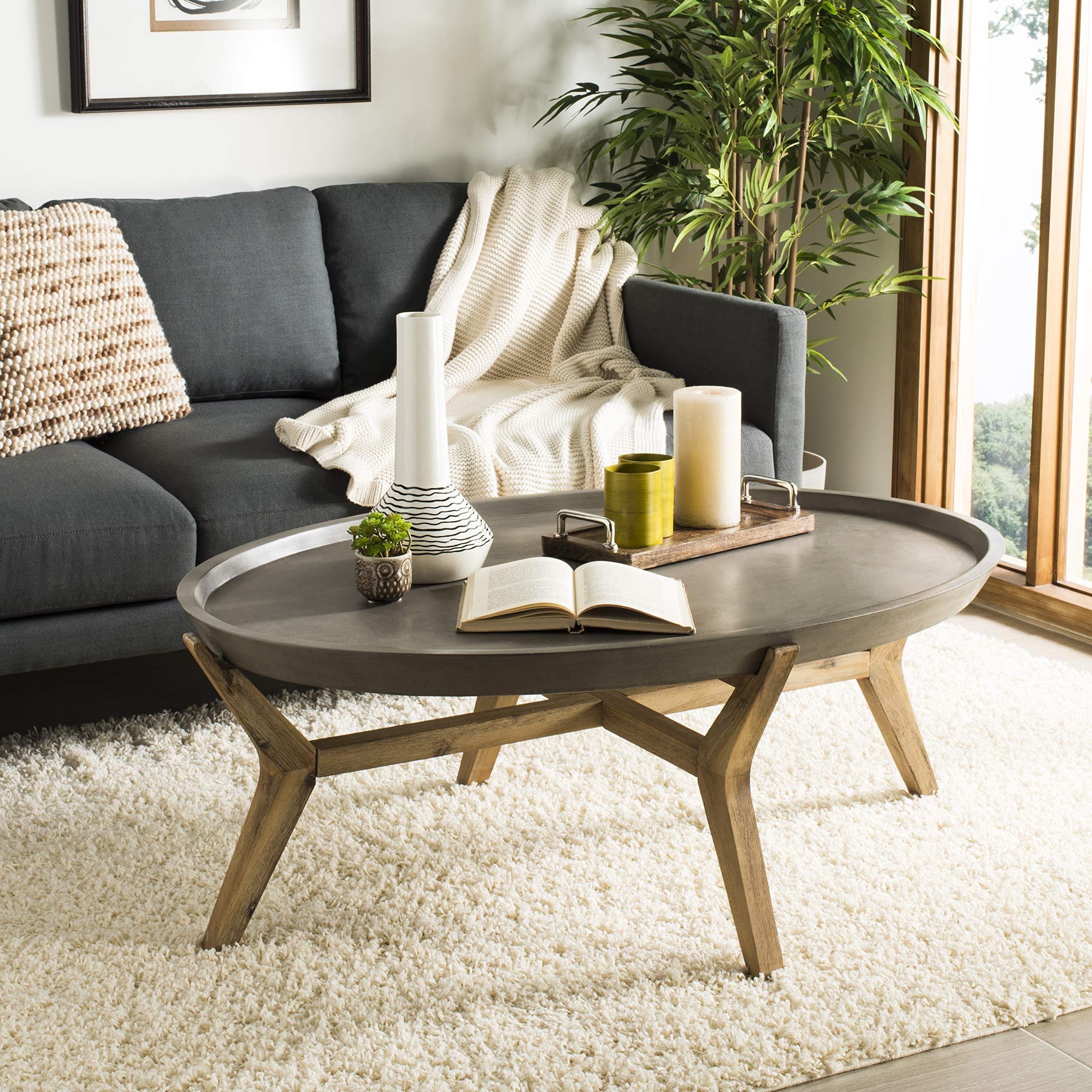 Safavieh VNN1021A Collection Hadwin Dark Grey Indoor/Outdoor Modern Concrete Oval 31.5'' Coffee Table
