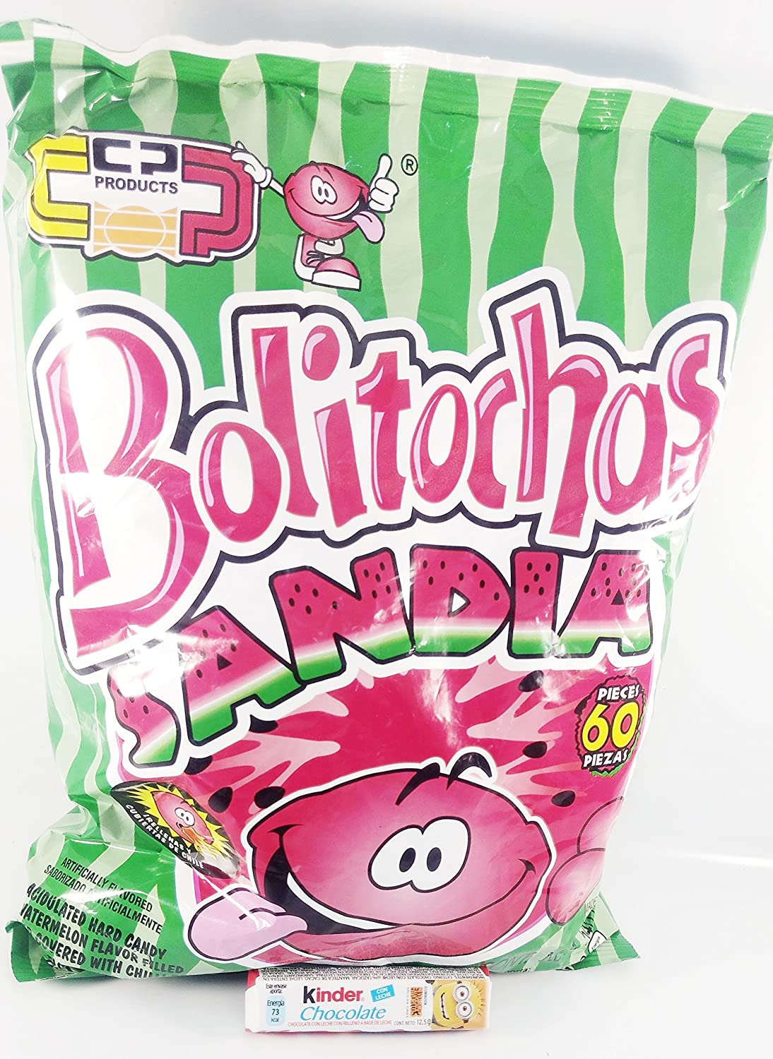 Amazon.com: BOLITOCHAS WATERMELON FLAVOR 60 pz with Free Chocolate Kinder Bar included: Toys & Games