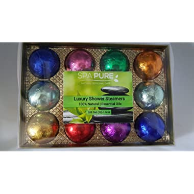 Spa Pure Luxury Aromatherapy Shower Bomb/Steamers Gift Set, 12 individually wrapped - 1.6 oz gum drop shaped shower fizzies in colorful foils, makes an amazing Gift