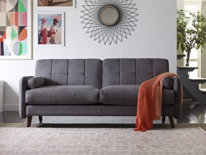 Elle Decor 73 Mid Century Modern Natalie Sofa In Dark Gray