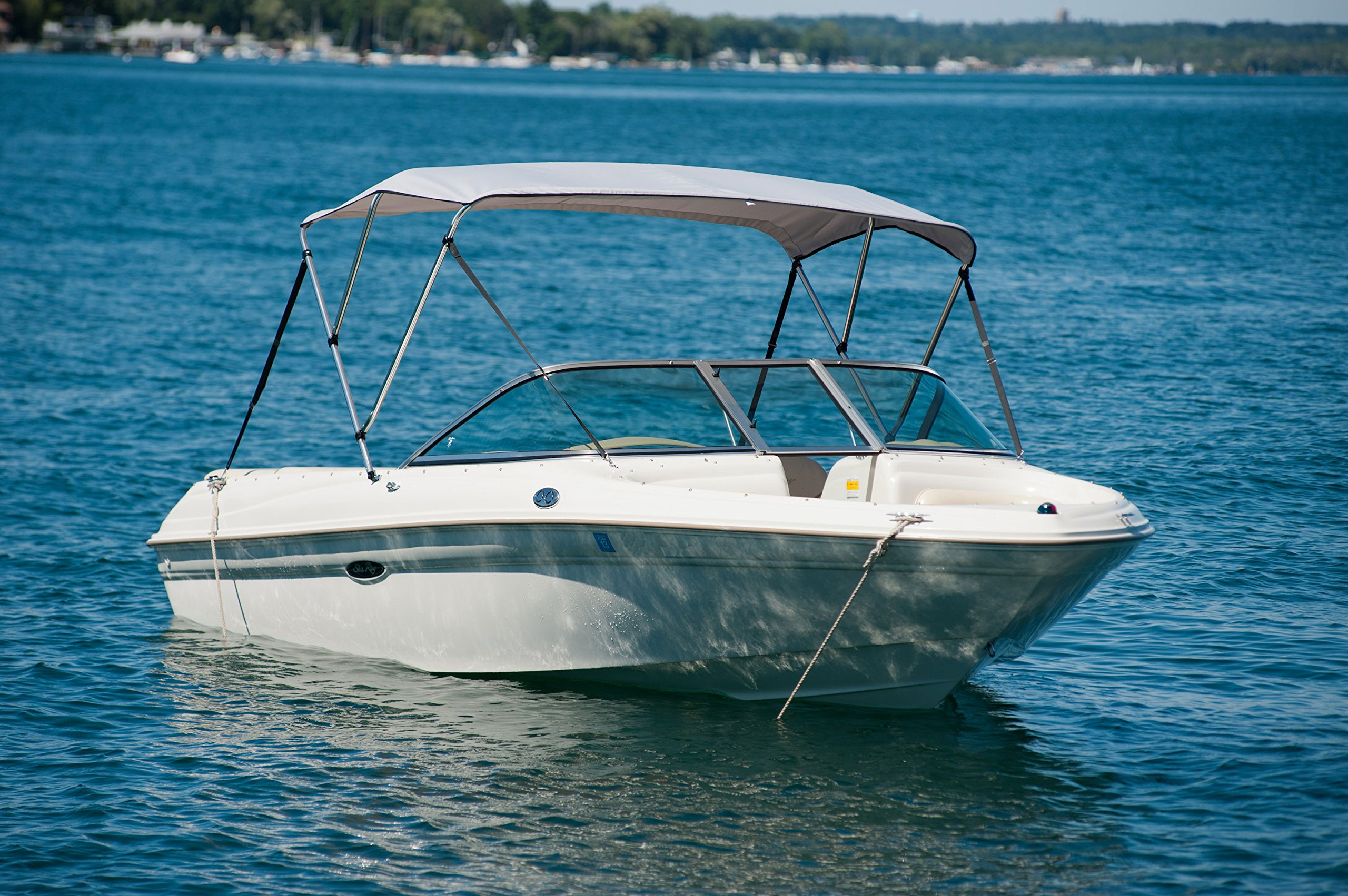 Komo Covers Boat Bimini Top Cover, 46 inches High by 6 feet Long by 61 to 66 inches Wide with Boot and Hardware (Grey) by Komo Covers