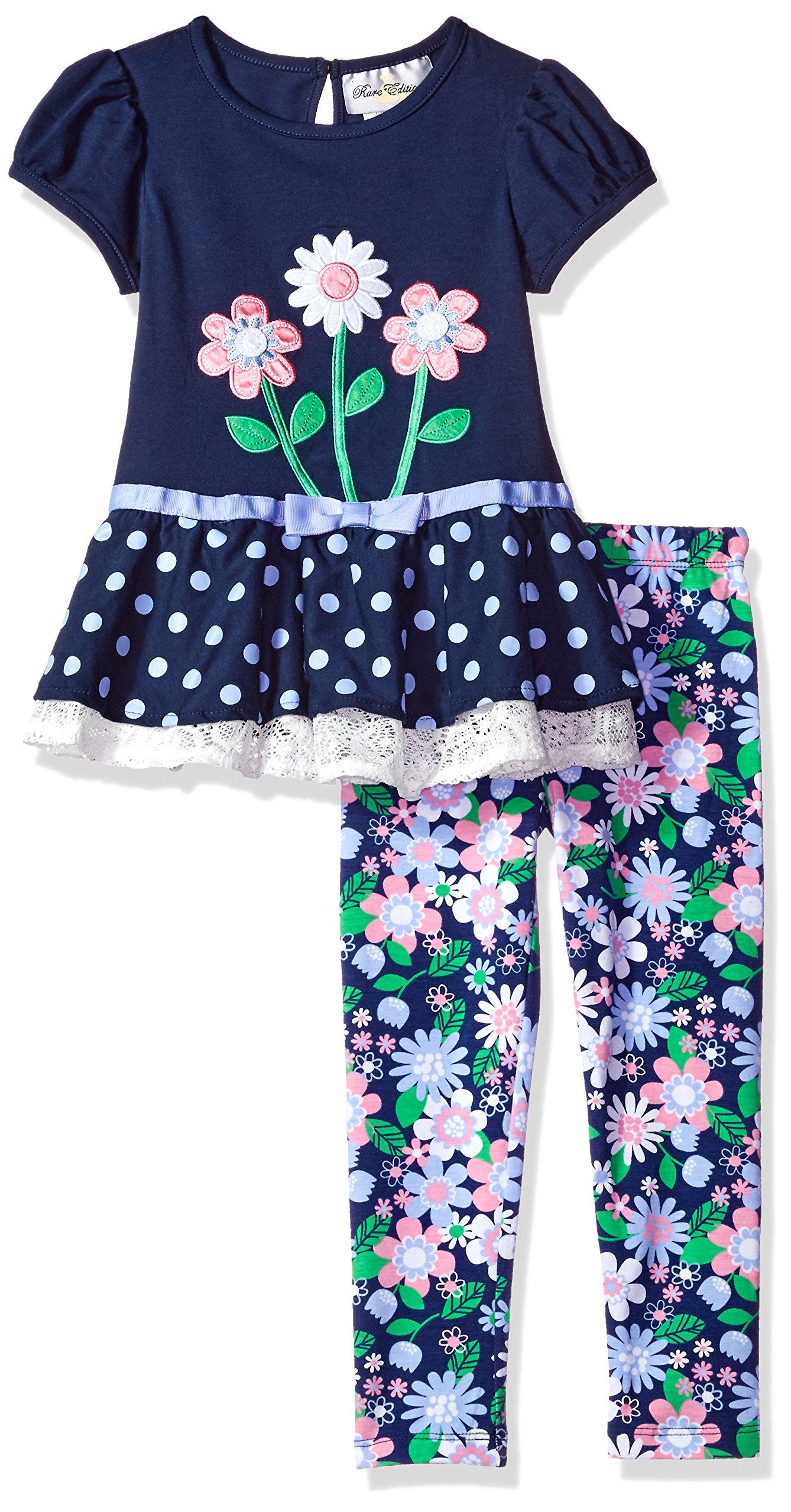 Rare Editions Little Girls' Flower Applique Legging Set, Navy/Multi, 5