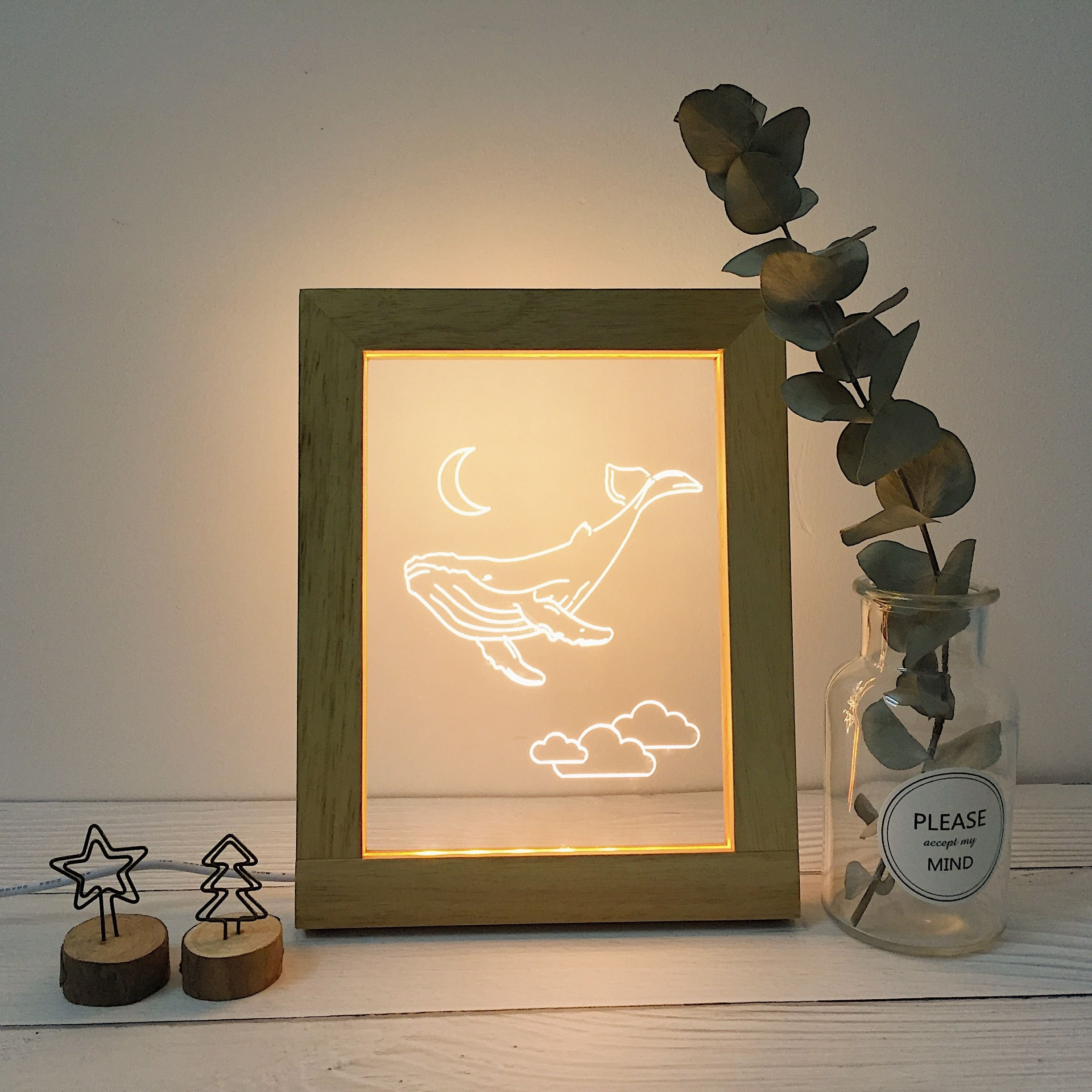 Wood Frame Night Lights, Soft Light Home Decor Lamp for Bedroom Living Room, Whale Night Light for Kids and Adults, Decorate Holiday Party Atmosphere, 4+ style 7.3x9.3x0.8 inches (Cetacean-02)