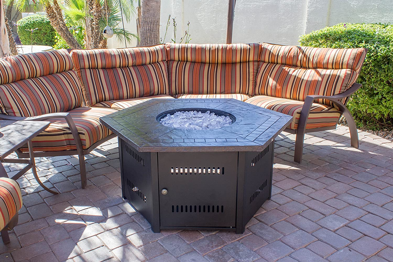 Amazon.com: Hiland Fire Pit Hexagon With Slate Table, Large: Garden U0026  Outdoor