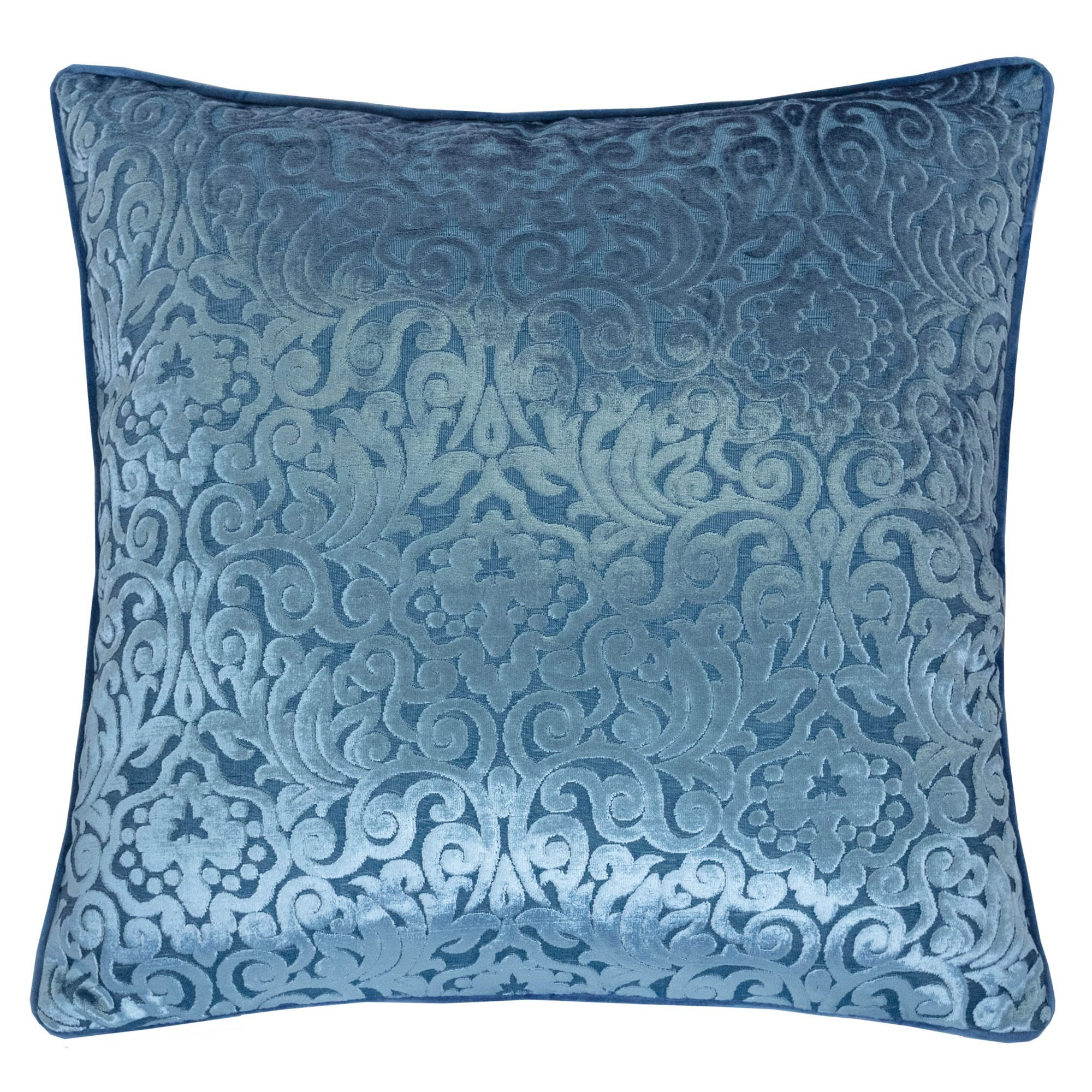 Homey Cozy Modern Velvet Throw Pillow Cover,Spa Blue Luxury Elegant Floral Soft Fuzzy Cozy Warm Slik Decorative Square Couch Cushion Pillow Case 20 x 20 Inch, Cover Only