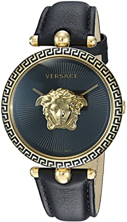 10705879d6 Versace Women's Palazzo Empire Yellow Gold Swiss-Quartz Watch with Leather  Calfskin Strap, Black