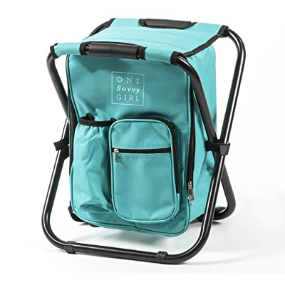 One Savvy Girl Ultralight Backpack Cooler Chair - Compact Lightweight and Portable Folding Stool - Perfect for Outdoor Events, Travel, Hiking, Camping, Tailgating, Beach, Parades & More : Sports & Outdoors