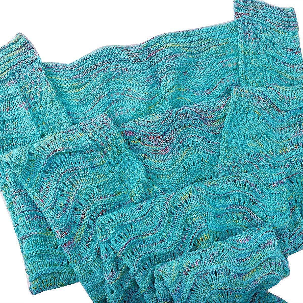 Fu Store Mermaid Tail Blanket Crochet Mermaid Blanket for Adult, Super Soft All Seasons Sofa Sleeping Blanket, Cool Birthday Wedding Christmas, 71 x 35 Inches, Mint Green by Fu Store (Image #4)