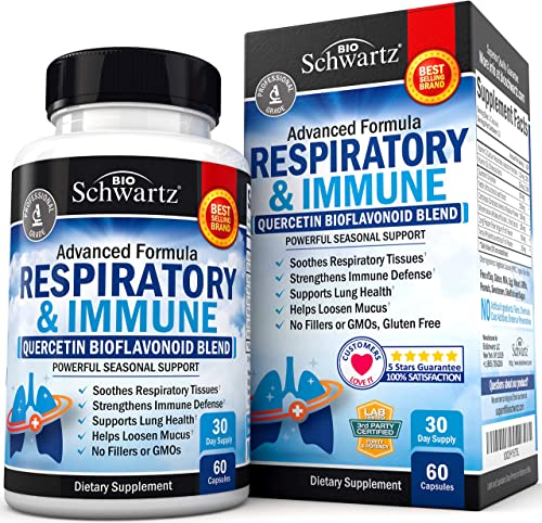 Respiratory Supplement with Quercetin for Lung Health Support – Soothes Respiratory Tissues Helps Loosen Mucus – with Vitamins C D to Promote Reduction in Oxidative Stress – 60 Capsules