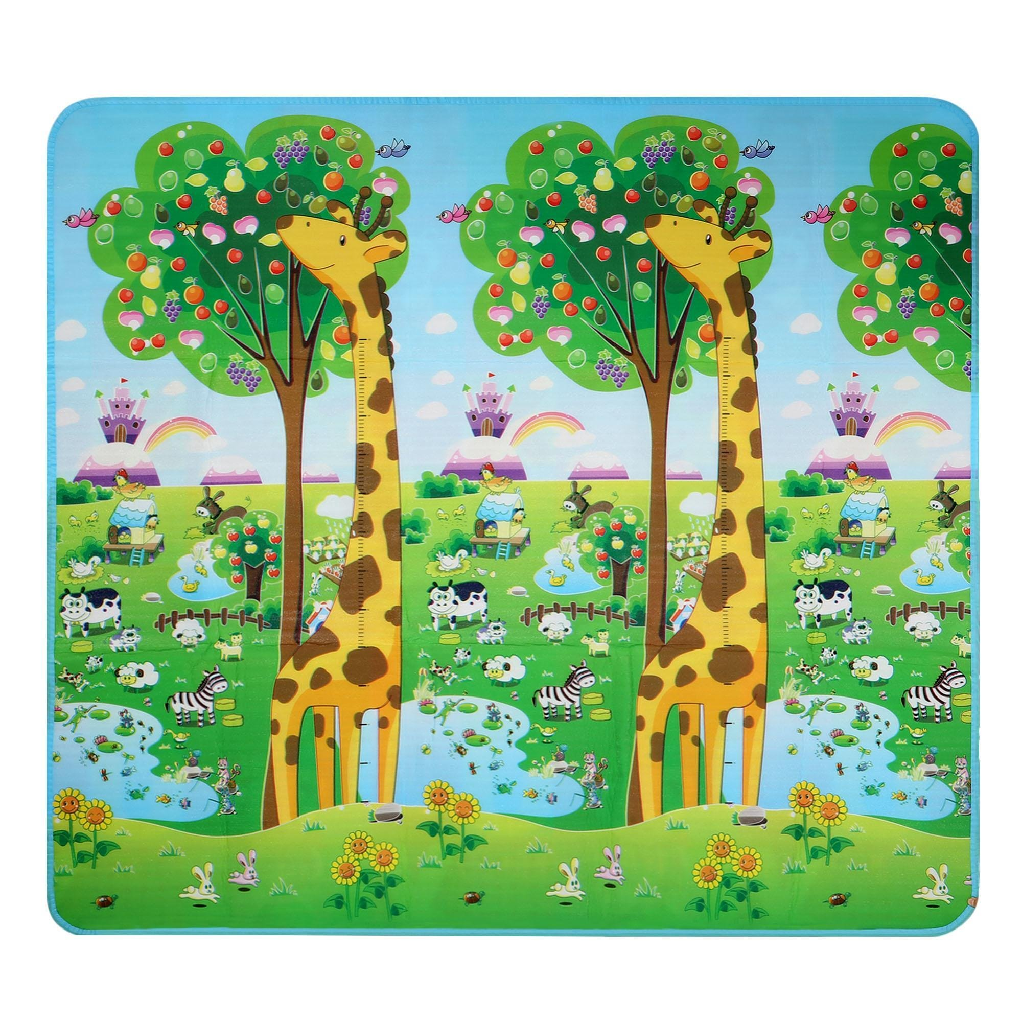 Dtemple Baby Kids Play Mat Crawling Mat Double Sides Foam Floor Activity Mat, Non-toxic Waterproof Toy Rug (US Stock) (Bear and Giraffe)