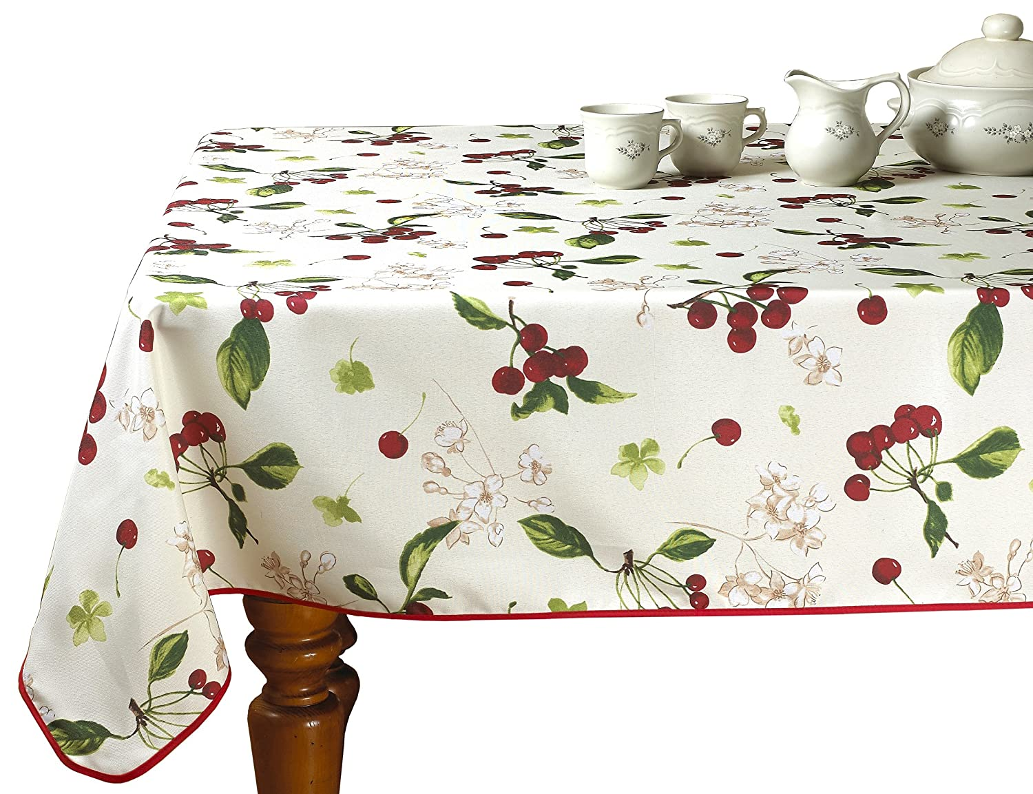 Violet Linen European Kitchen Cherries Vintage Tablecloth