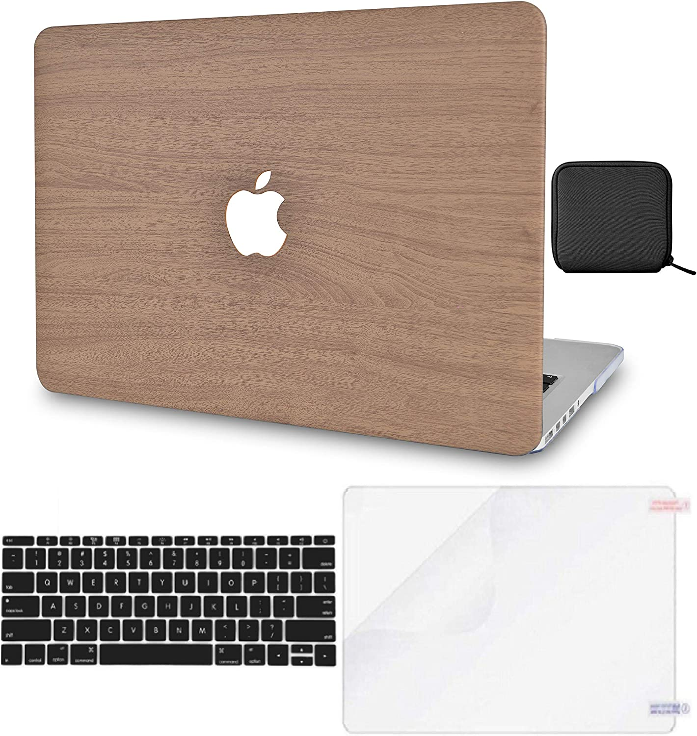 "LuvCase 4in1 Laptop Case for MacBook Pro 13""(2020) with Touch Bar A2251/A2289 Leather Hard Shell Cover, Pouch, Keyboard Cover & Screen Protector (Brown Wood)"