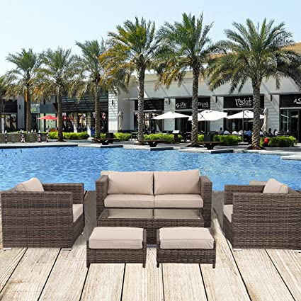 Florida 6 Pieces Outdoor Patio Wicker Sofa Conversation Furniture Set,  Toffee