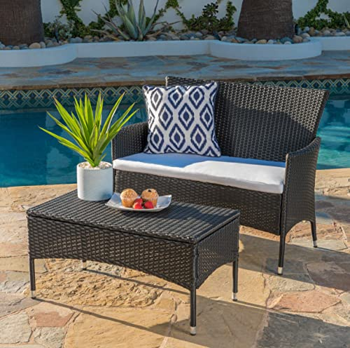 Christopher Knight Home Malta Outdoor Wicker Loveseat and Coffee Table Set with Water Resistant Cushions, Black White Cushion