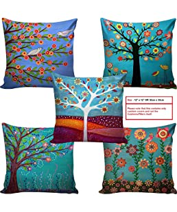 AEROHAVEN™ Set of 5 Abstract Decorative Hand Made Jute Throw/Pillow Cushion Covers - CC08 - (Multicolor, 12 inch x 12 inch)