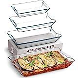 Superior Glass Casserole Dish Set - 4-Piece Rectangular Bakeware Set, Modern Unique Design Glass Baking-Dish Set - Grip Handl