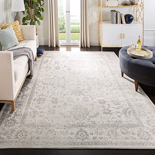 Safavieh Adirondack Collection ADR109C Ivory and Silver Oriental Vintage Distressed Area Rug 9 x 12