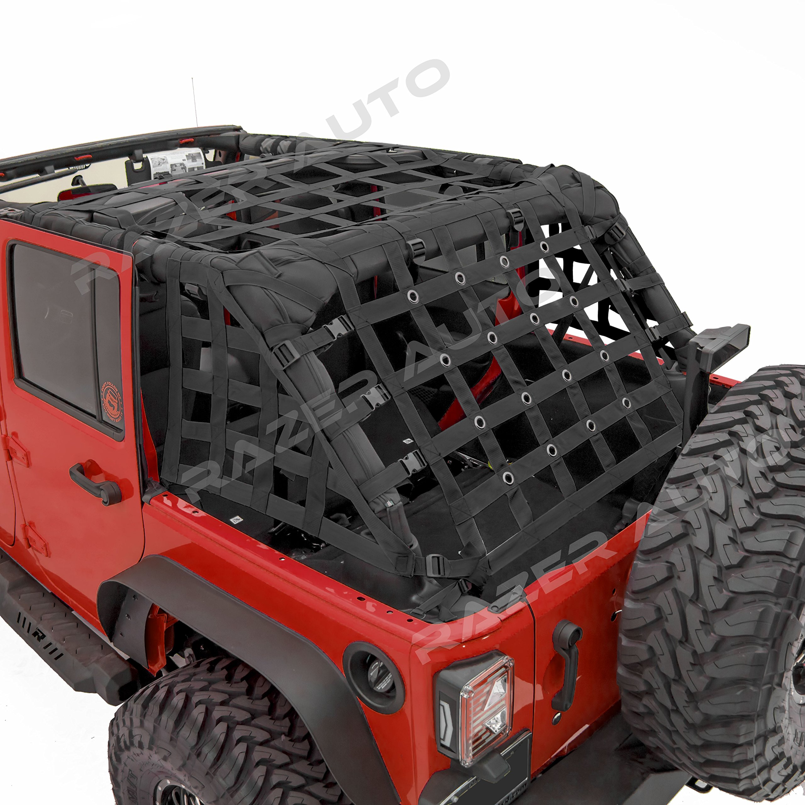 Razer Auto 4 Door Model Only Black Cargo Restraint Net System Trail Cargo Net (Black) for 07-18 Jeep Wrangler JK