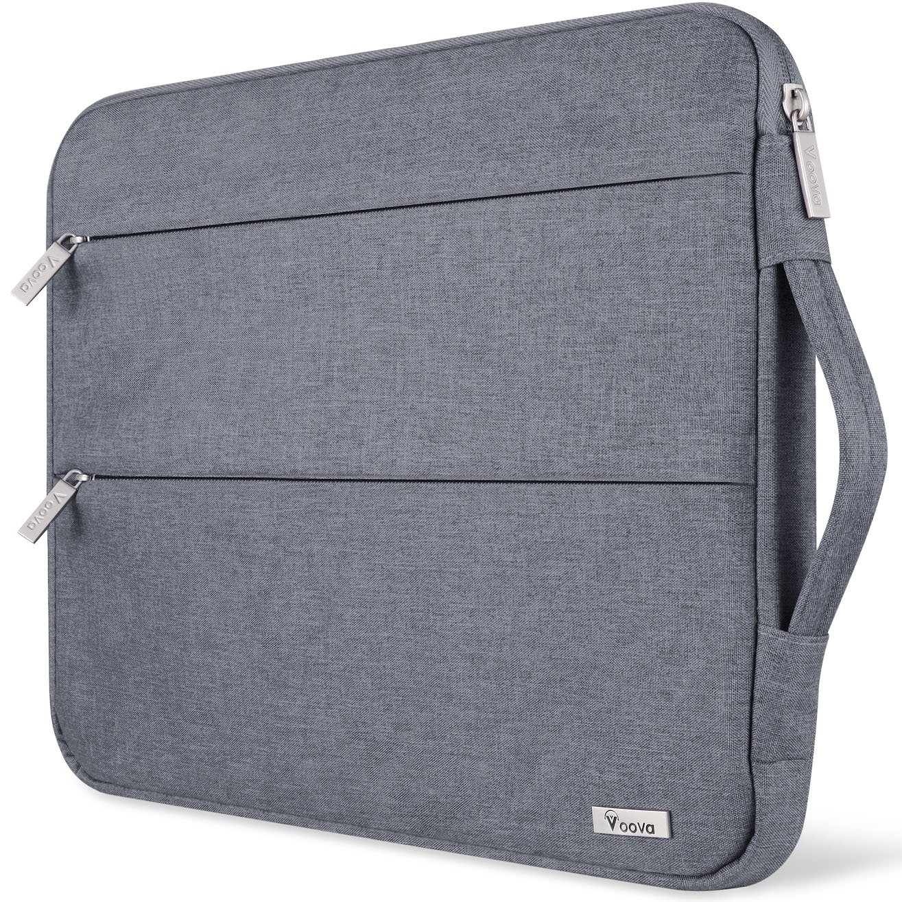 Voova 15.6 14 15 Inch Laptop Sleeve Case with Handle Waterproof Protective Cover Bag Compatible with MacBook Pro 15.4'', Surface Book 2 15'', Asus Acer Hp with Pocket, Gray