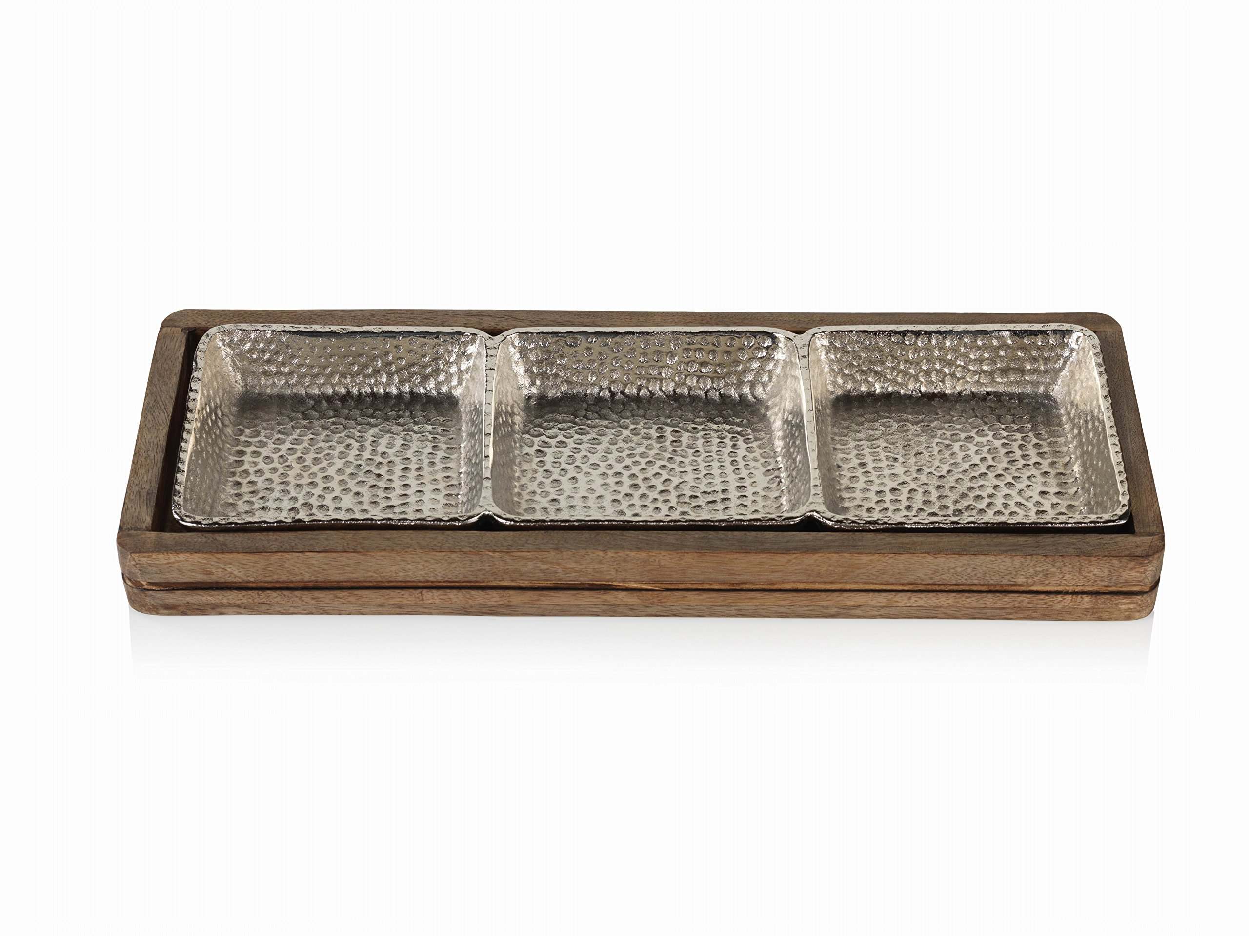 Zodax Mango Wood Hammered Aluminum Sectional Snack Serving Tray