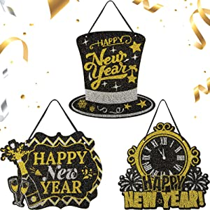 Zonon 3 Pieces Happy New Year Glitter Sign Happy New Year Countdown Clock Hanging Sign Hat Shape Sign for Home Classroom Office Decoration